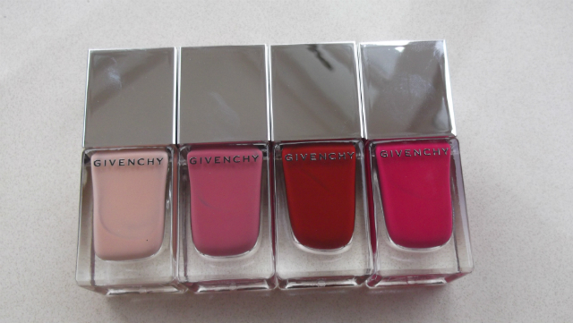 Givenchy Le Vernis in beige Mousseline, Rose Taffetas, Grenat Inetie, Fucshia Irrisistible