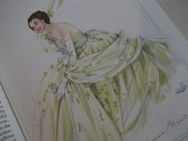 Norman Hartnell Illustration Mimosa Tulle Dress Worn By The Queen