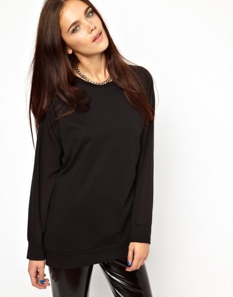 Chiffon Sleeve Sweatshirt