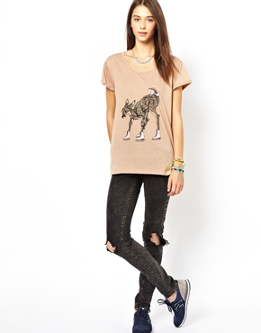 Ice Skating Deer Print T