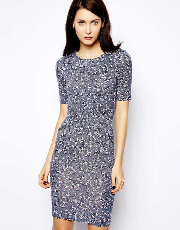 warehouse bird print dress