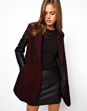 ASOS Leather Look Sleeve Coat