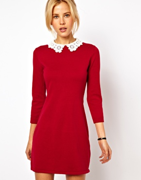 Knit Dress with Collar
